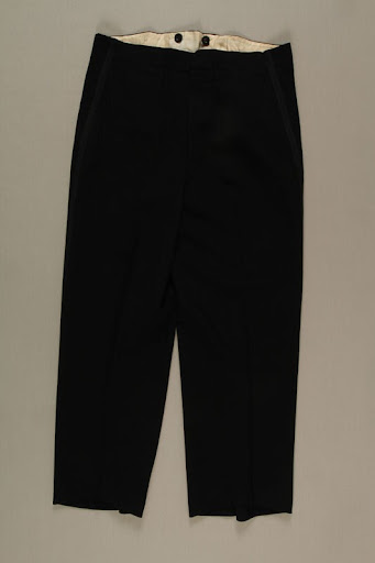 Formal trousers with tuxedo trim owned by a German Jewish businessman in Shanghai