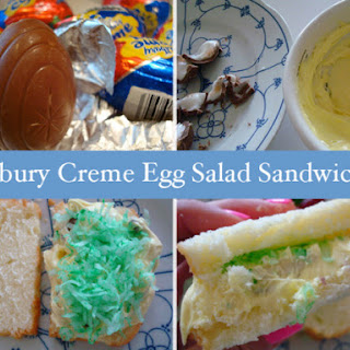 Cadbury Creme Egg Salad Sandwiches.