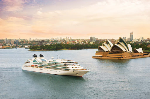 Seabourn_Odyssey_in_Sydney_Harbor - Seabourn Odyssey sails through Sydney Harbor. Australia has become a major mecca for cruises in the past few years.