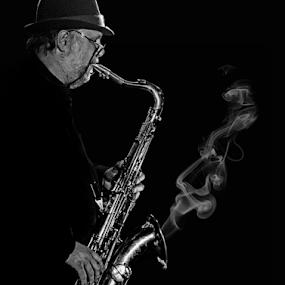 Blues in Black & White by Pat Eisenberger - People Portraits of Men ( saxophone, jazz, white, sax, men, blues, portrait, black,  )