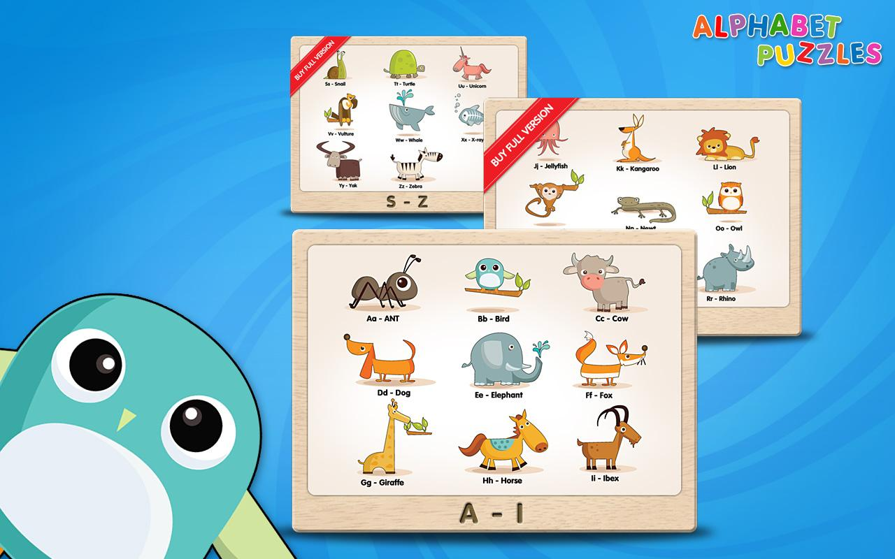 Arabic alphabet for kids with cute animals and fruit for each letter - Kids Abc Alphabet Puzzles Lite Screenshot