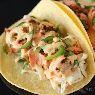 Salmon Tacos with Cilantro-Lime Slaw.