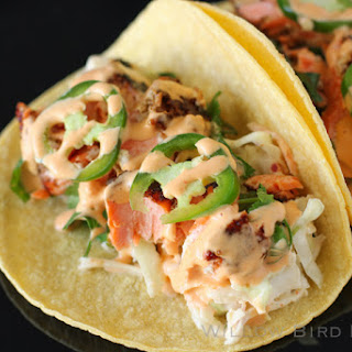 Salmon Tacos with Cilantro-Lime Slaw.