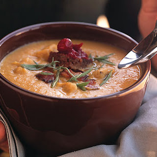 Smoked Turkey and Bacon Chowder with Pumpernickel and Cranberry Croutons