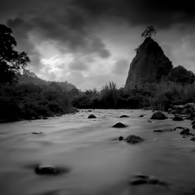 Tabiang Takuruang by Adi Krishna - Black & White Landscapes ( stream b&w bukittinggi sumatra )
