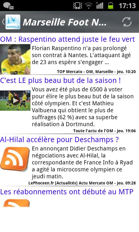 Marseille Foot News - screenshot