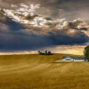 House in the Fields by Awais Khalid - Landscapes Prairies, Meadows & Fields ( clouds, sunset, house, country, fields )