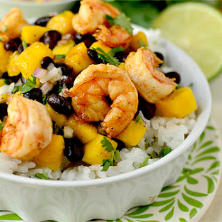 Chili-Lime Shrimp Bowls with Black Bean-Mango Salsa