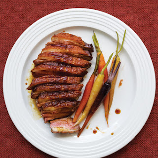 Crispy Duck Breasts with Glazed Carrots.