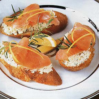 Smoked Salmon, Fennel and Goat Cheese Toasts.