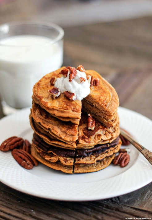 Healthy Pumpkin Pancakes (low carb, high protein, gluten free)