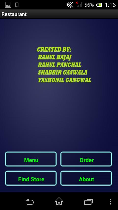 RESTAURANT MENU- screenshot