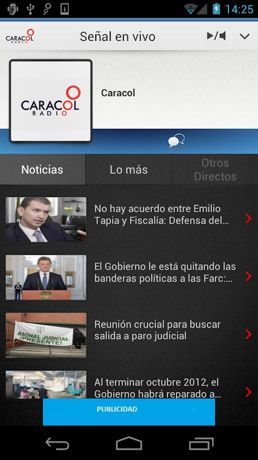 Caracol Radio para Android - screenshot