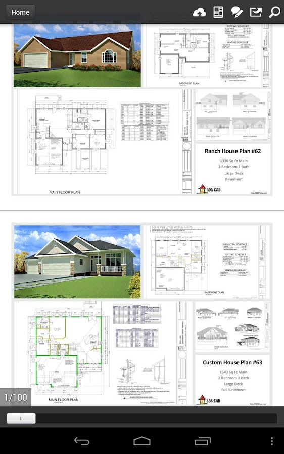 100 house plans in pdf and cad android apps on google play for Home designs pdf
