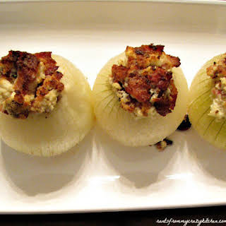 Bacon and Goat Cheese Stuffed Onions.