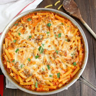 Skillet Baked Ziti with Sausage.