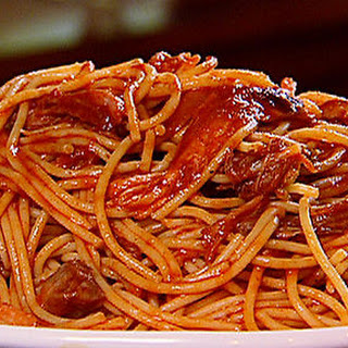Neely's BBQ spaghetti.