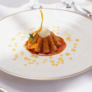 Carrot Cake with Madeira Syrup and Vanilla Ice Cream