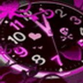 Clock Purple With Glitter