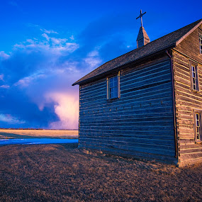 Pioneer Church by Charles Adam - Buildings & Architecture Public & Historical ( countryside, field, church, settler, sunset, pioneer, cloudscape, historic )
