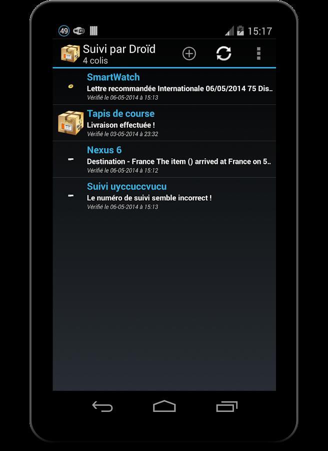 Suivi par Droïd (suivi colis) - screenshot