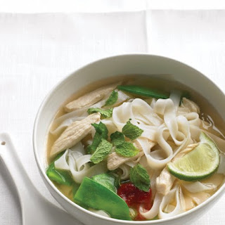 Asian Noodle Soup with Chicken and Snow Peas.
