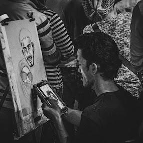 Portrait Drawing by Mohammad Hisham Abd Zamhuri - Black & White Street & Candid