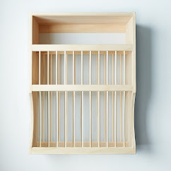 Wooden Plate Rack & Shelf