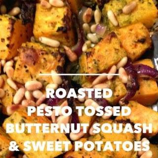 Roasted Pesto Tossed Butternut Squash & Sweet Potatoes