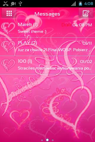 GO SMS Pro Romantic Pink- screenshot