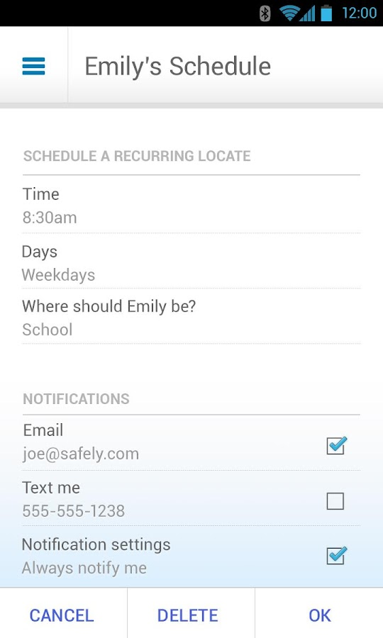 AT&T FamilyMap™- screenshot