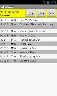 US Holiday Calendar 2015 - screenshot thumbnail