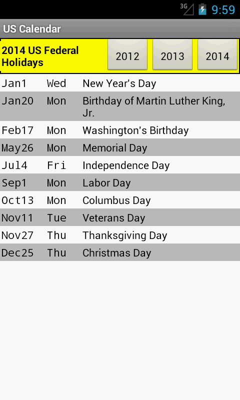 US Holiday Calendar 2015 - screenshot