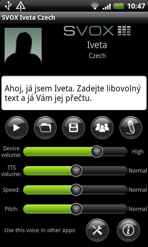 SVOX Czech/Český Iveta Voice - screenshot