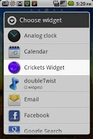 Screenshot of Instant Crickets Widget