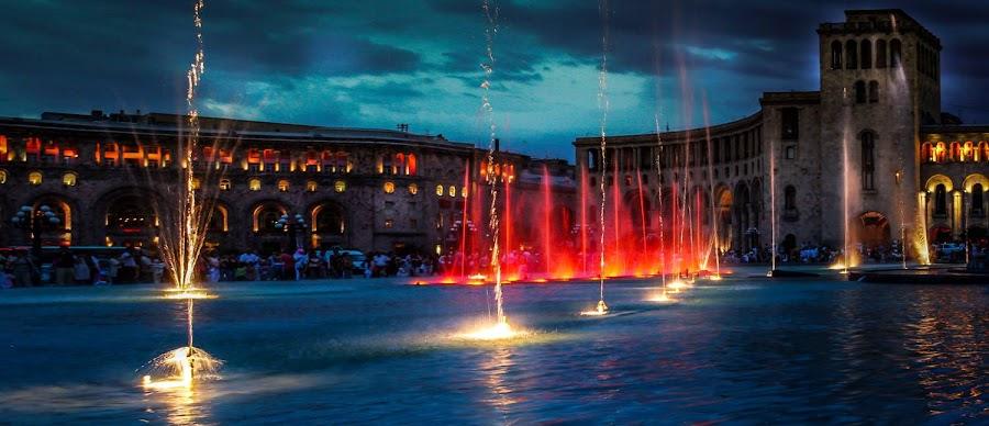 Yerevan by NIght by Harout Arabian - City,  Street & Park  Fountains ( armenia, fountain, soviet, night, yerevan, city )