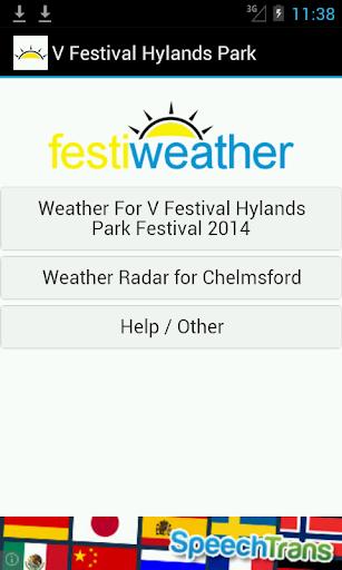 V Fest Hylands Park Weather
