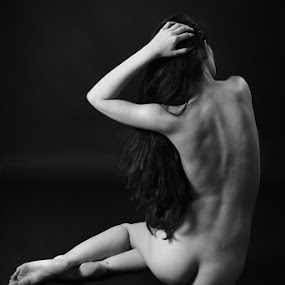 I'll be back by Nicu Buculei - Nudes & Boudoir Artistic Nude ( blackandwhite, nude, woman, back, hair,  )