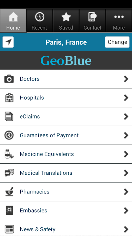 GeoBlue - screenshot