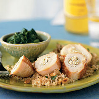 Chicken Breasts Stuffed with Artichokes, Lemon, and Goat Cheese.