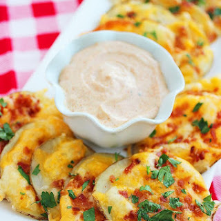 Cheesy Bacon Oven Chips with Chipotle Ranch Dipping Sauce