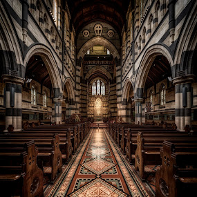 Alone in St. Paul's Cathedral by John Williams - Buildings & Architecture Places of Worship ( gothic, church, melbourne, australia, sanctuary, interior architecture, worship, building, interior )