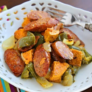 Roasted Sausage, Peppers and Sweet Potatoes.