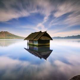 House on the Lake by Eggy Sayoga - Buildings & Architecture Homes ( bali, reflection, indonesia, batur, lake, house )