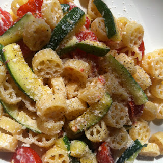 Pasta with Zucchini, Tomatoes, and a Creamy Lemon-Yogurt Sauce