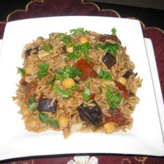 Aromatic Rice With Aubergine and Chickpeas.