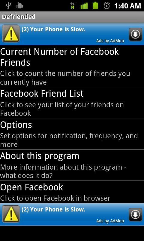Defriended for Android- screenshot