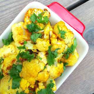 Curried Roasted Cauliflower with Coconut Oil.