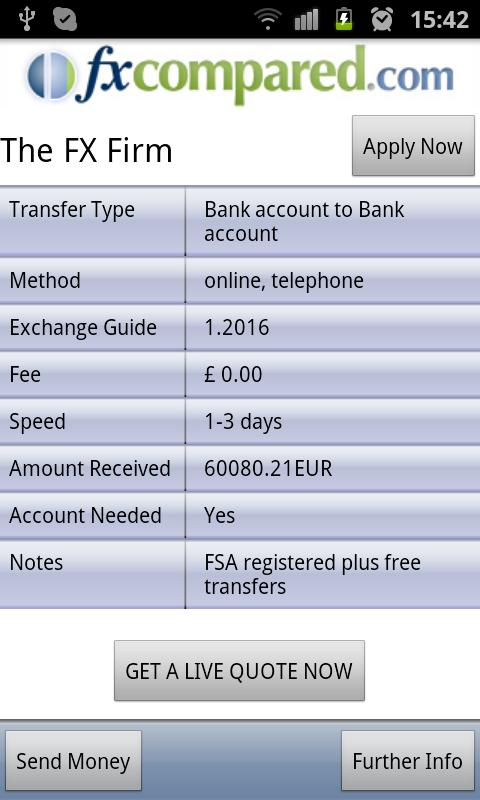 Currency Transfers Compared - screenshot