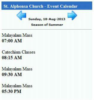 St. Alphonsa Church Calendar- screenshot